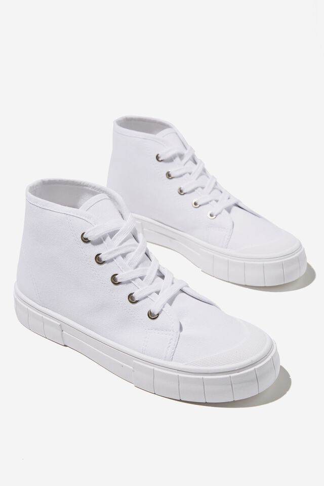 Peggy Mid Rise Plimsoll, WHITE
