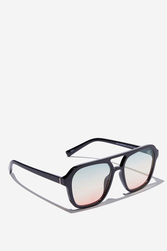 Jaz Oversized Aviator Sunglasses, BLACK/SUNSET