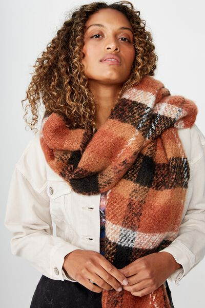 Pippa Brushed Tassel Scarf, BAKED CLAY CHECK
