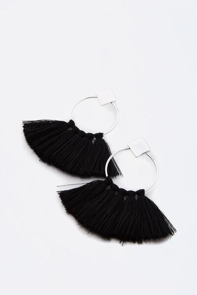 Round Tassel Earring, BLACK