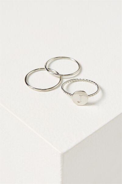 Letter Pendant Ring, SILVER - J