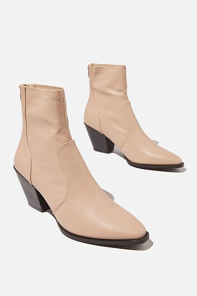 Stassi Western Sock Boot, BEIGE SMOOTH
