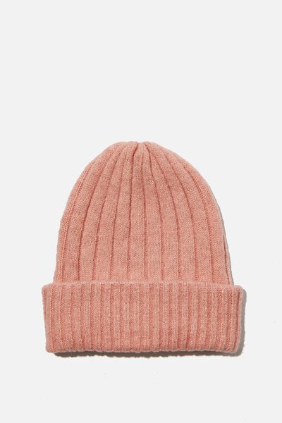 Willa Wide Rib Beanie, ROSE TAN