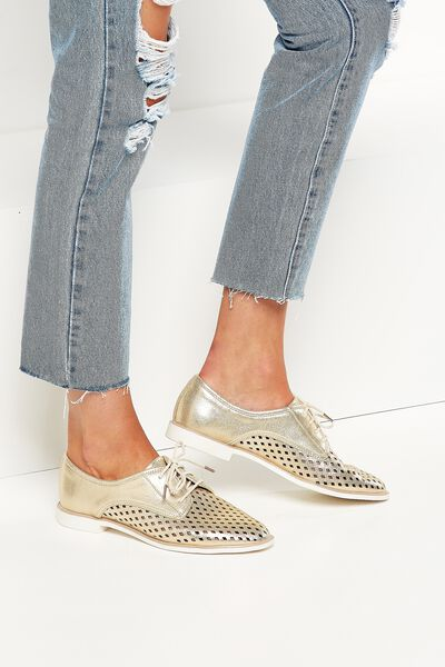 Lana Laser Cut Oxford Lace Up, SOFT GOLD PU