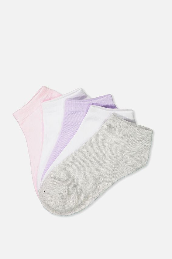 5Pk Ankle Sock, PINK/WHITE/LILAC