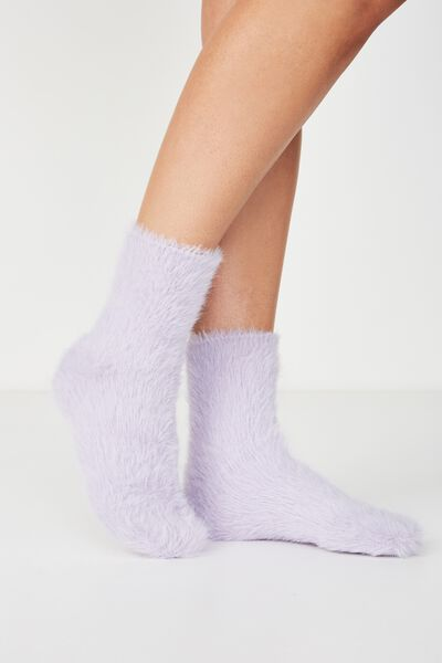 Fluffy Bed Sock, ELECTRIC LILAC