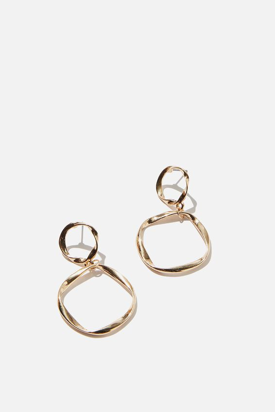 Treasures Delicate Double Circle Earrings, GOLD