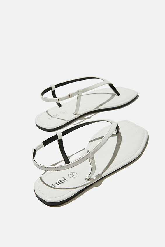 Everyday Maddie Toe Post Sandal, WHITE CROC PU/WHITE