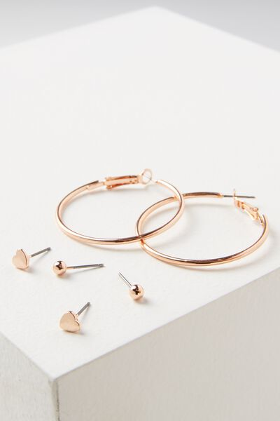 Paige Core Stud Pack, ROSE GOLD