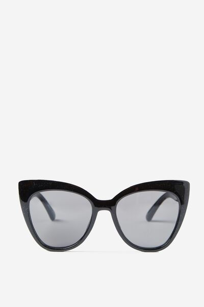 Whitney Cat Eye Sunglasses, BLACK