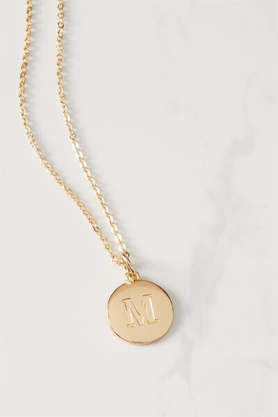 Letter Flat Pendant Necklace, GOLD - M