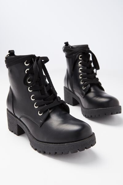 Kenickie Lace Up Boot, BLACK