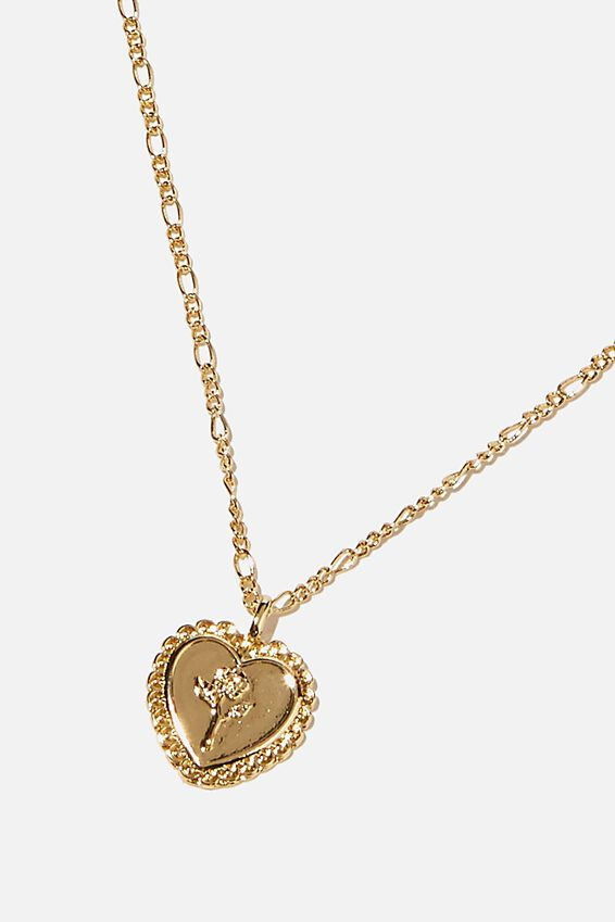 Brighter Days Pendant Necklace, ENGRAVED HEART GOLD