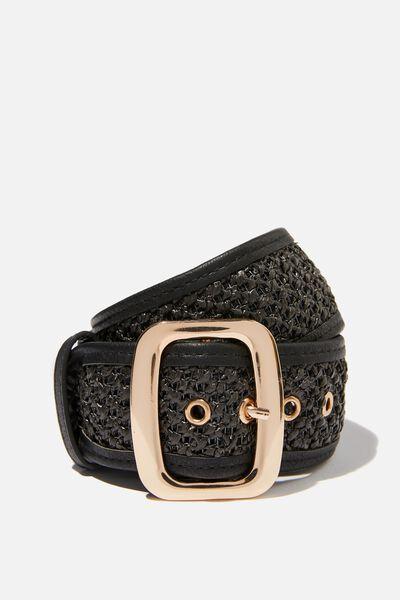 Romy Rectangle Belt, BLACK WOVEN