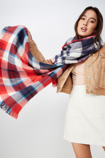Danielle Double Layer Scarf, RED/NAVY CHECK