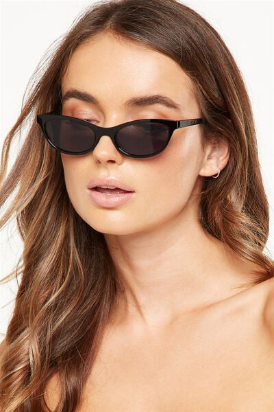 Sunny Short Frame Sunglasses, SHINY BLACK/SMOKE LENS