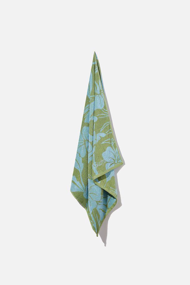 Personalised Bondi Rectangle Towel, BLUE AND GREEN RETRO TROPICAL