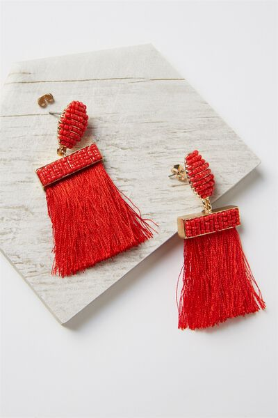 Beaded Curtain Earring, RED/GOLD