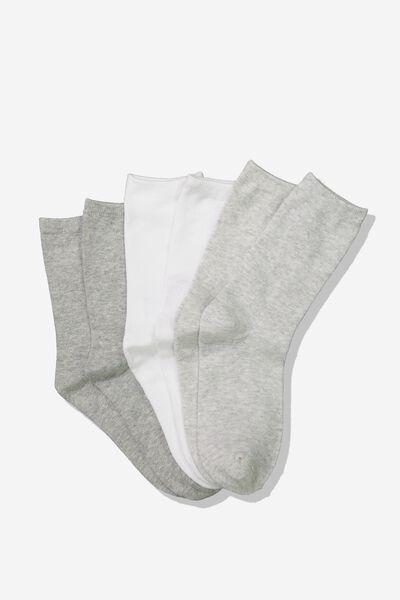3Pk Crew Sock, GREY MIX