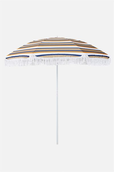 Throwin Shade Umbrella, RUST NAVY STRIPE