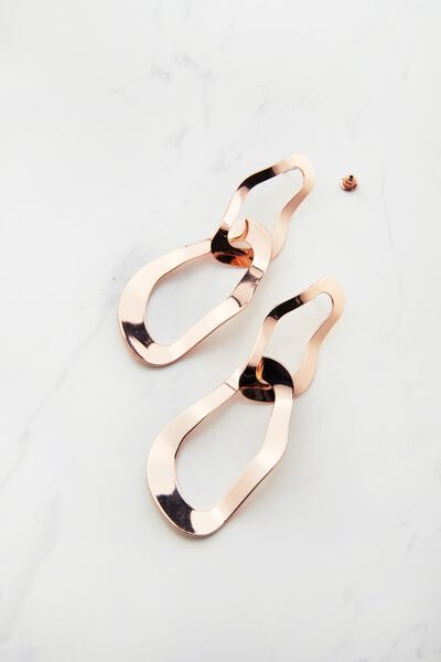 Multilink Metal Earrings, ROSE GOLD