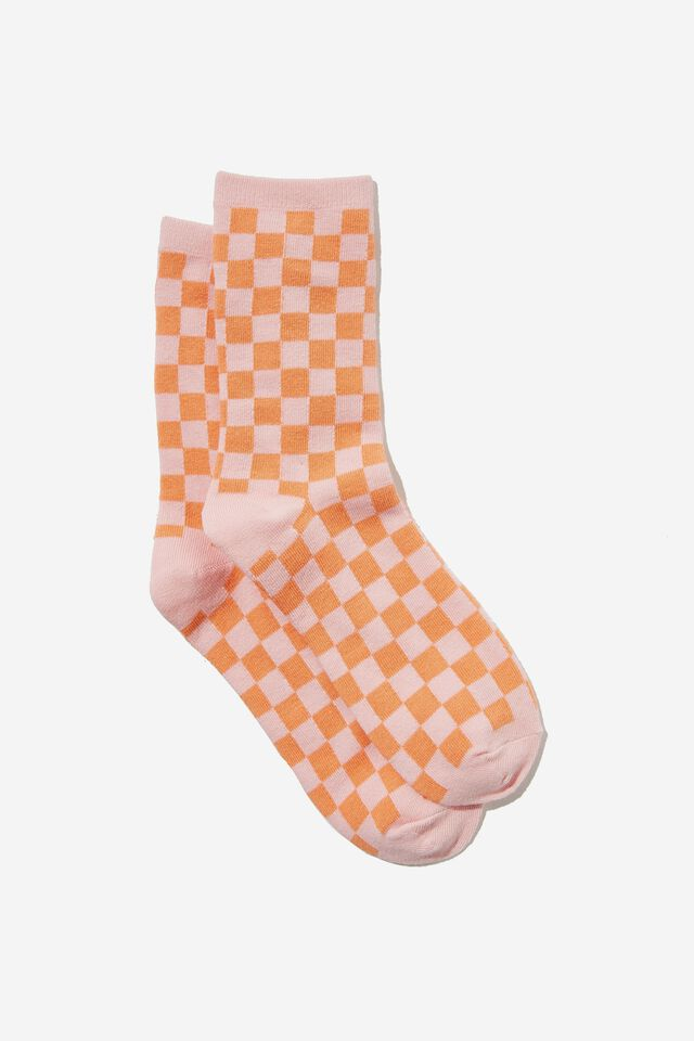 Carrie Crew Sock, PINK ORANGE/CHECKERBOARD