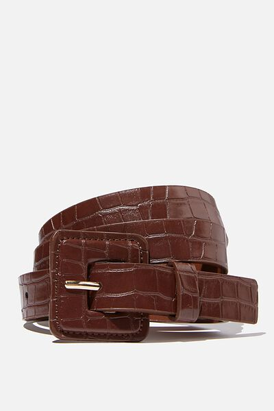 So Square Buckle Belt, CHOC TEXTURE