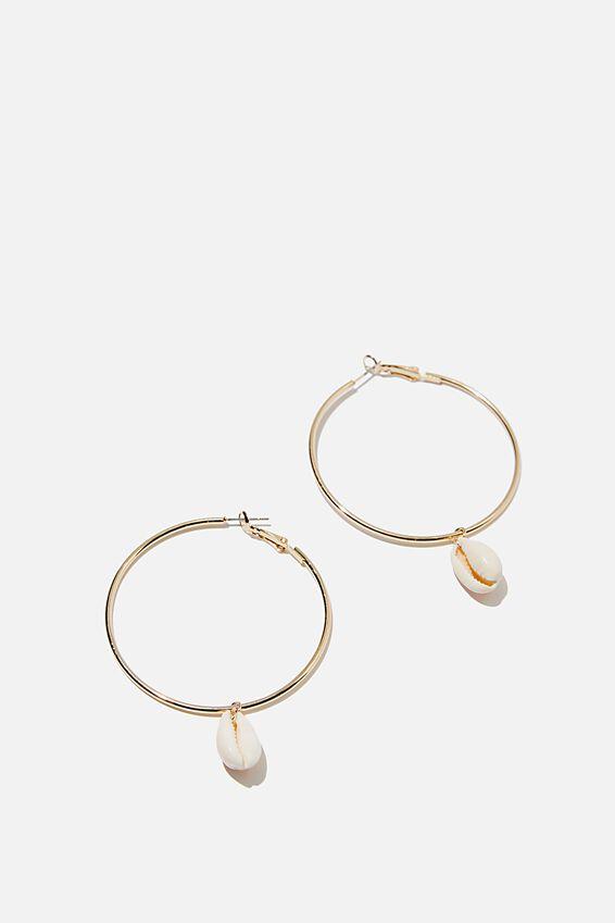 Cowrie Charm Bondi Hoops, GOLD/COWRIE