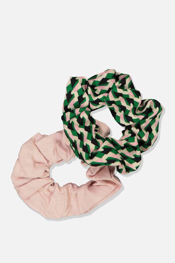 2Pk Scrunchie, GREEN/PINK MULTI GEO