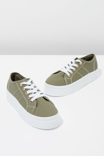 Willow Platform Sneaker, KHAKI