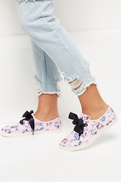 Indy Bow Plimsoll, PASTEL FLORAL