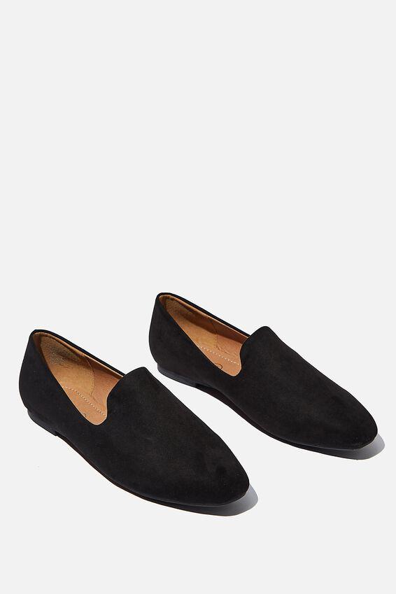 Essential Perri Square Toe Slipper, BLACK MICRO