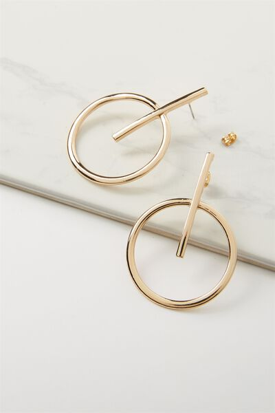 Hoop Cross Statement Earring, GOLD