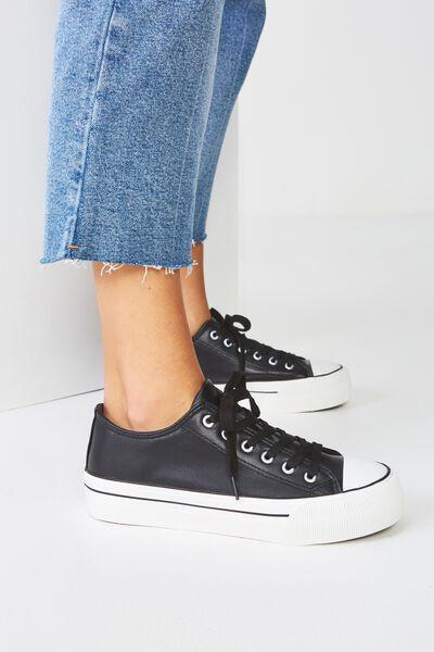 Platform Jodi Low Rise Sneaker, BLACK PU