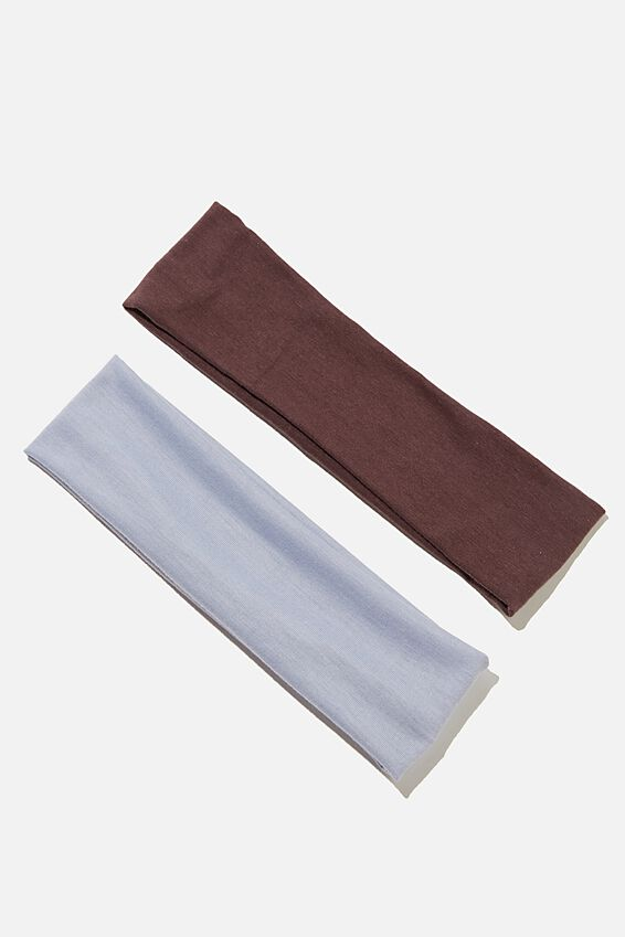 2Pk Varsity Head Band, COOL BLUE/ BROWN