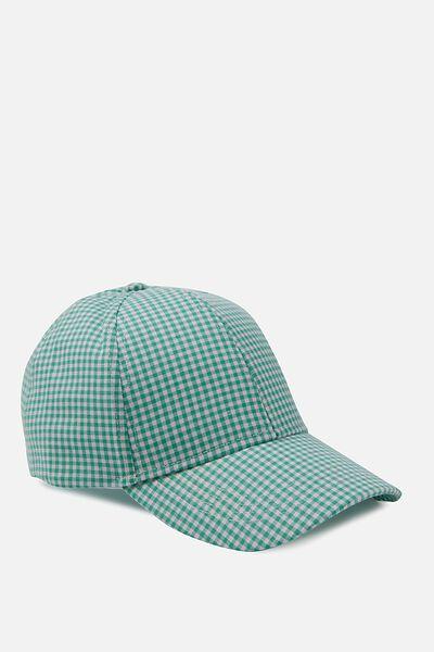 Nancy Cap, SEA GREEN GINGHAM