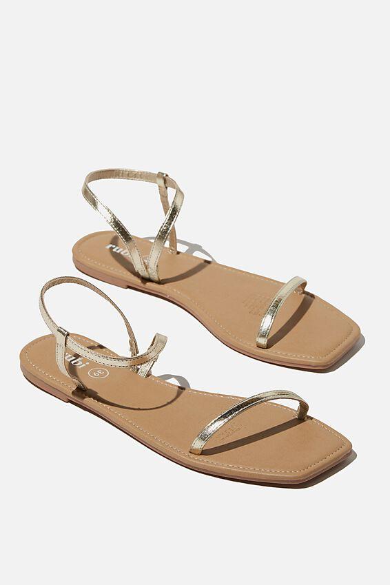 Everyday Eden Fine Strap Sandal, GOLD METALLIC PU