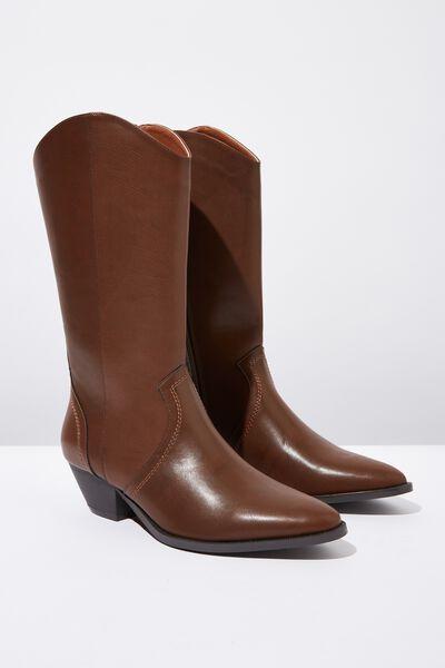 Layla Mid Length Western Boot, DARK TAN