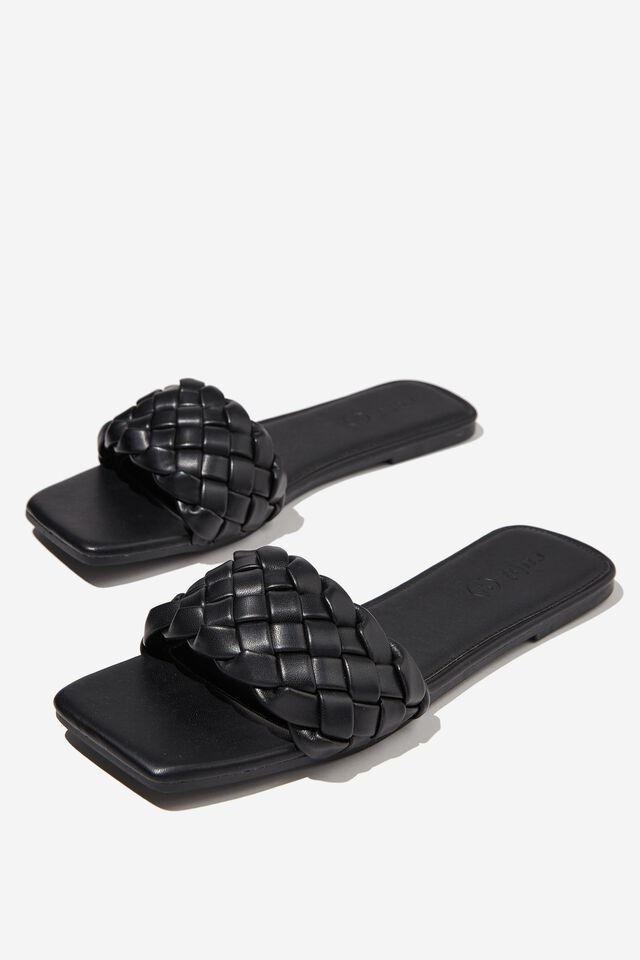 Harper Braided Slide, BLACK PU