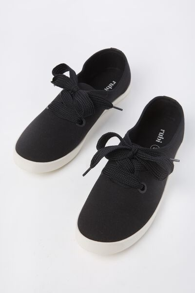 Indy Bow Plimsoll, BLACK TWILL