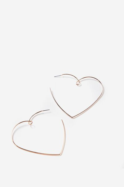 Twisted Heart Earring, ROSE GOLD
