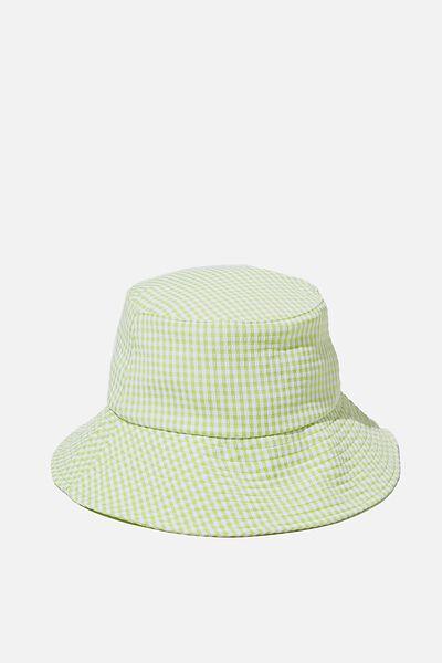 Bianca Bucket Hat, CITRON GREEN GINGHAM SEERSUCKER