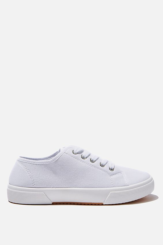 Lisa Lace Up Plimsoll, WHITE