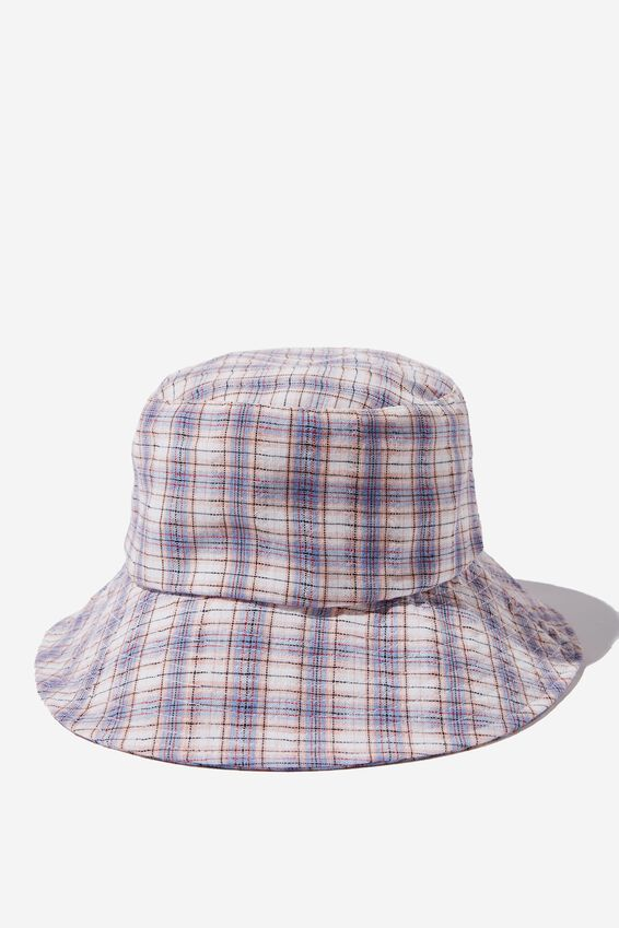 Bianca Bucket Hat, BLUE AND BLUSH CHECK