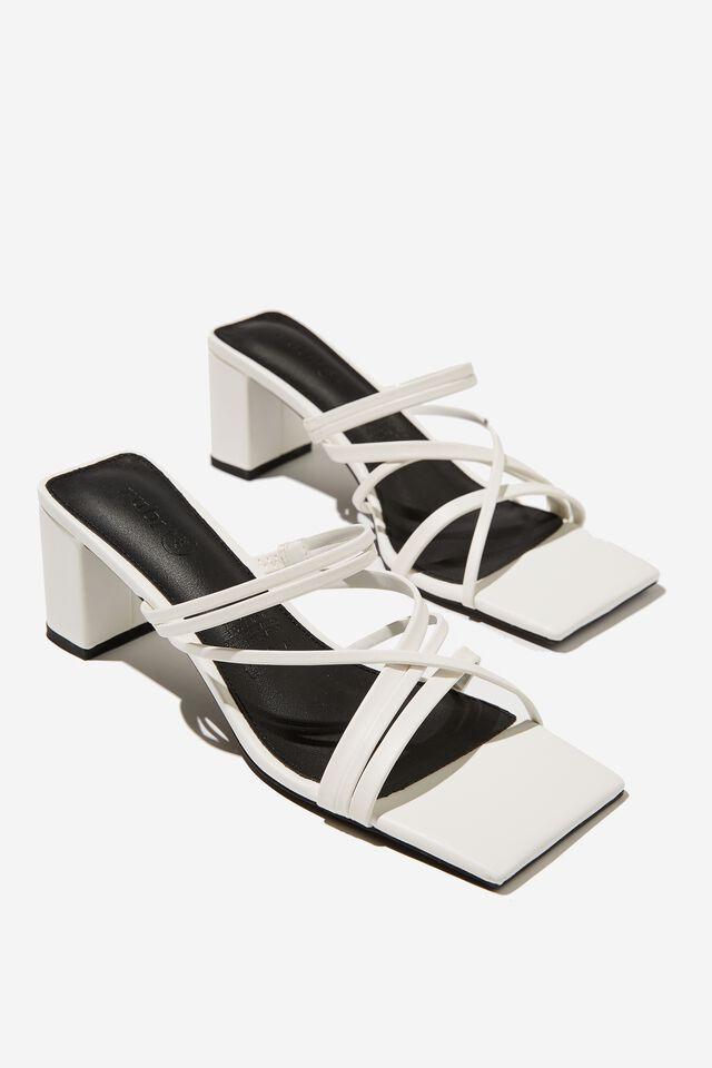 Elle Strappy Low Block Heel, WHITE PU