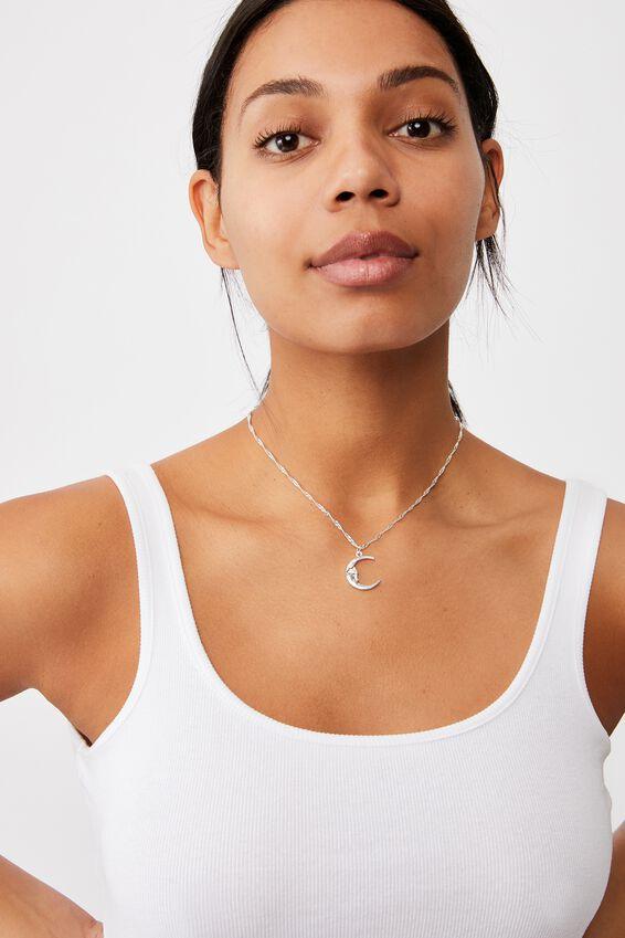 Treasures Short Pendant Necklace, SILVER MOON