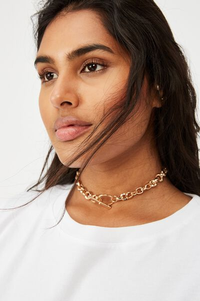 Luxe Layers  Statement Necklace, GOLD CIRCLE CHOKER