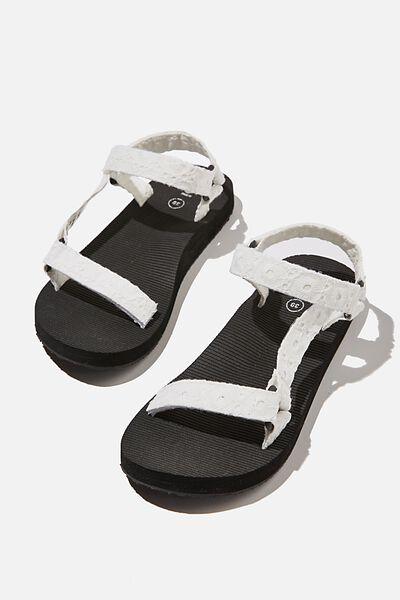 Stormy Sporty Sandal, WHITE BRODERIE