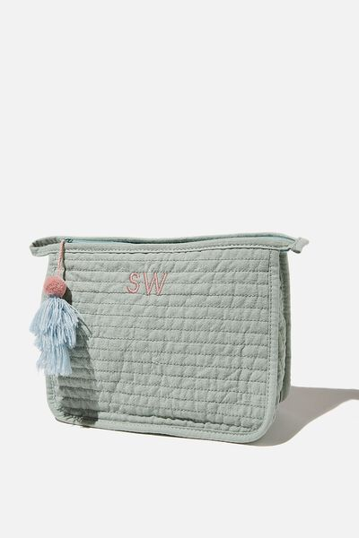 Personalised Quilted Cosmetic Pouch, WASHED MINT