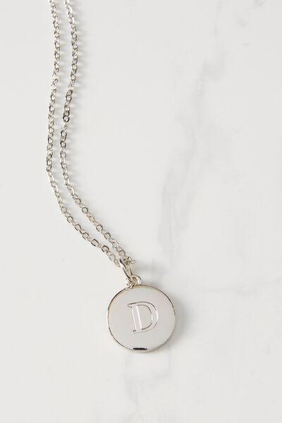 Letter Flat Pendant Necklace, SILVER - D